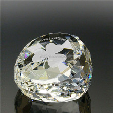 Wholesale Laser Etched Cristal Glass Diamond Paper Weight for Wedding Favor