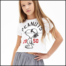 Fashionable anime white oem round neck design girls tshirt with factory prices