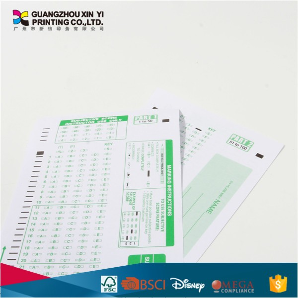 Answer sheet printing offset paper education sheet bulk buy from china