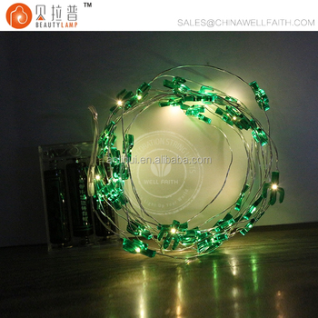 Battery operated green cacti fairy LED micro string lights