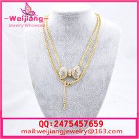NL048 New Luxurious Crystal long Necklace Zinc Alloy 18K Gold Rhodium Plated With Import crystal New Fashion
