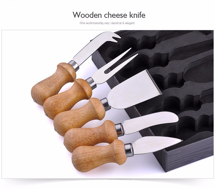 2017 hot sale 5 pc cheese knife set with wood handle