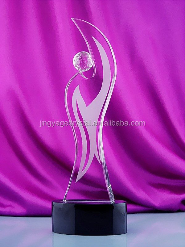Crystal glass award trophy gift