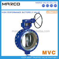 Professional supply concentric or high performance eccentric type end connection double flange butterfly valve