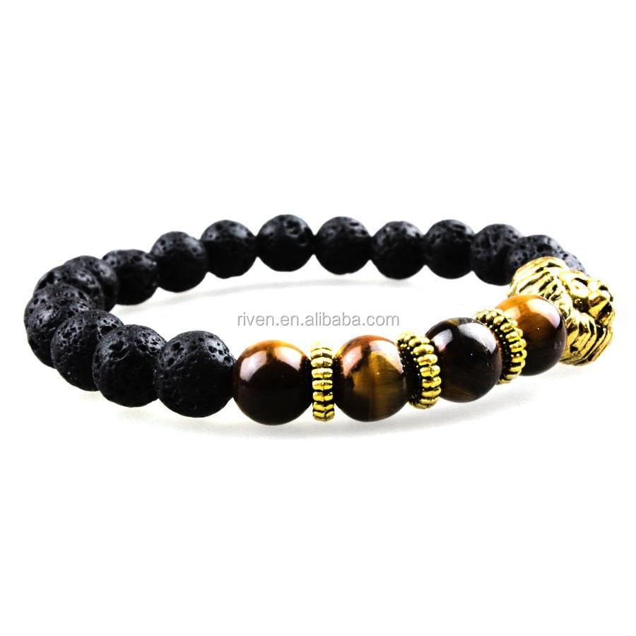 SN0640 Man Classic Black Lava rock stretch bracelet with gold lion head charms bracelets