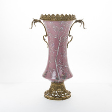 2016 Hot Sell Luxury Antique European Beautiful Bronze with Hand Painting Porcelain Home Decoration Vase