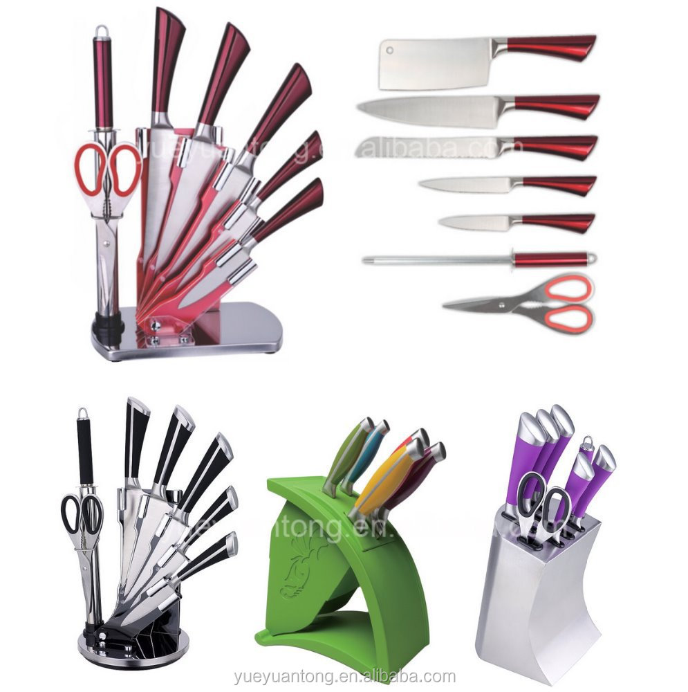8pcs stainless steel kitchen knife set with acrylic display stand in gift box buy kitchen. Black Bedroom Furniture Sets. Home Design Ideas
