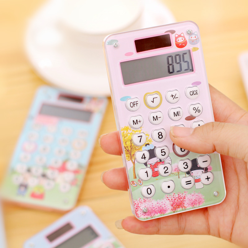 Portable 8 digit solar calculator mini student battery calculator with rubber key colorful cheap promotional