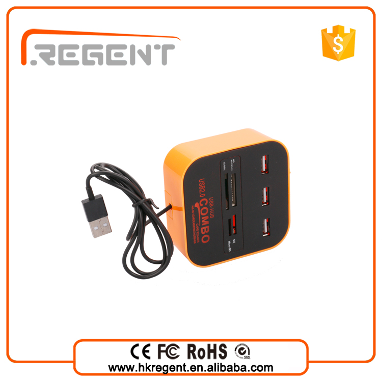 High speed cute 4 port usb 2.0 hub + card reader usb hub For SD/MMC/M2/MS
