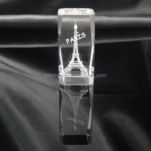 Etched 3D Eiffel Tower Laser Crystal Glass Block MH-F0149