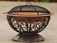 Outdoor 33in Ornate Copper Firepit