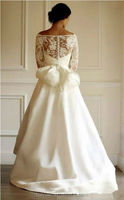 scoop neck front short long back half sleeve lace wedding dresses