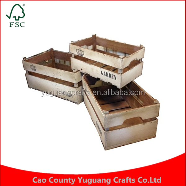 French country fir shabby white vintage wooden fruit crate for Buy wooden fruit crates
