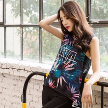 Fitness running T-shirt clothes fashion breathable sexy mesh women sports printing vest ladies wear