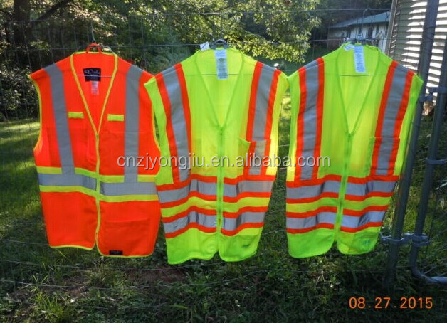 Safety Class 2 High Visibility Reflective Contrasting Trims for Contractors Construction Heavy Duty ANSI Safety Vest, Yellow, Si