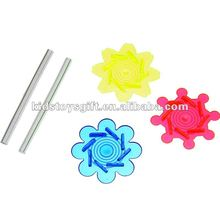 Blow spin Plastic Tie-Dyed Spin Tops,Spinning top,classtic children toy