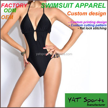 Wholesale sexy high cut V neck black one piece sexy mature swimsuit