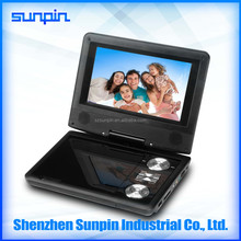 rechargeable kids cheap portable dvd player with bluetooth analog tv tuner and fm radio play 2 hours