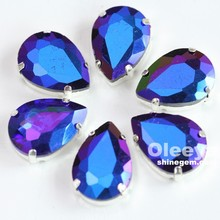Factory Wholesale Sapphire AB 13*18mm teardrop sew on rhinestones with silver claw for garment decoration
