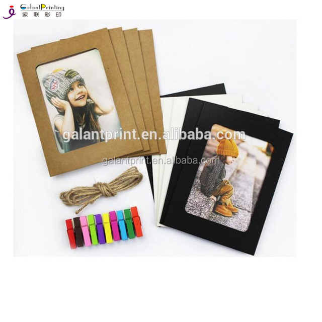 DIY Mini colorful paper photo frame cute picture mats picture frame sets including Wooden Clip & Hemp Rop
