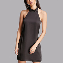 hot sexy girls without panties and bra black halter neck bare back short dress casual dress