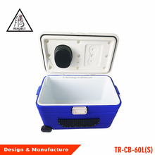 Outdoor portable trolley cooler box with Bluetooth Speaker radio bigger wheels