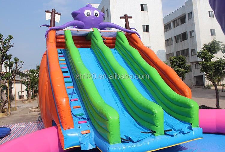 Commercial Inflatable water park 2 in 1 Big party used swimming pool slide