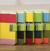 Rainbow Wallet Case Cover For Apple iphone 5C Leather Case Pouch Holster with Card Slot