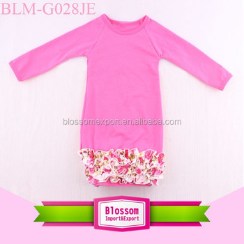 Pictures Of Latest Designs Baby Plain Cotton Newborn Baby Clothes Floral Ruffle Bottom Dress Fall Long Icing Ruffle Raglan Gown