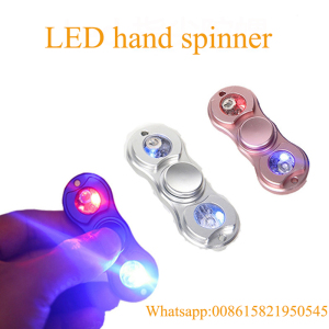 LED Light Hand Spinner Fidget Toys Aluminium Metal Ceramic Finger