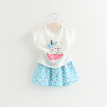 2017 Latest Beautiful Cartoon Frock Suits for Baby Girls with Bowknot