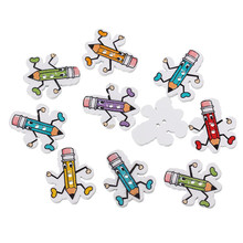 Wood Sewing Button Scrapbooking Pencil Characters Cartoon At Random Two Holes 28.0mm x 23.0mm