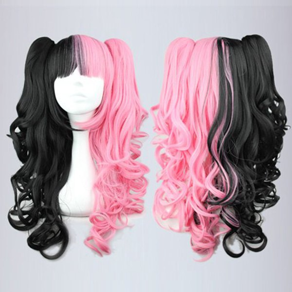 Promotion Lolita 70cm Long Curly Pink Black Braided Ponytail Classical Cosplay Party Wig