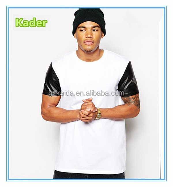 Blank white plain T-Shirt With Leather Look Sleeves And Skater Fit