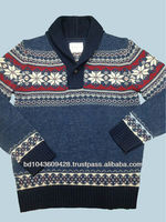 MEN'S JACQUARD LONG SLEEVE SWEATER WITH BUTTON-UP IN FUNNEL NECK