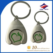 2016 Custom metal trolley coin keychain detachable keyrings