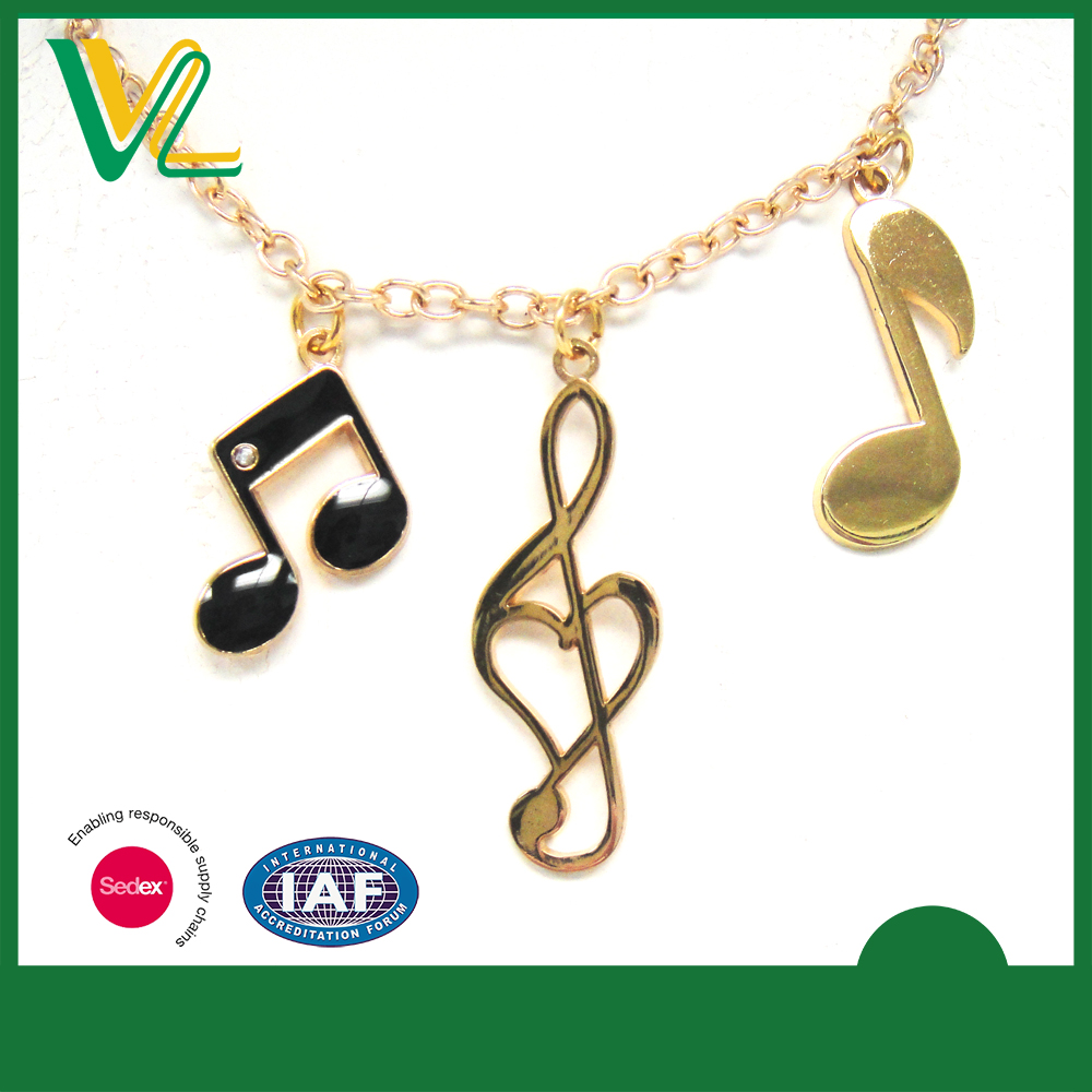 Tailor made New Zinc Alloy Metal Gold Plated Musical Symbol Lobster claw clasp Metal Craft Necklaces for teenagers