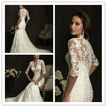 new fashion trumpet lace wedding dress 2013
