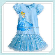Brand girls clothing sets Cinderella kids clothes summer fashion suits casual top + tutu skirt baby girl princess skirt 3-10yrs