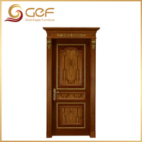 Deluxe mahogany wood entry door with carved patterns