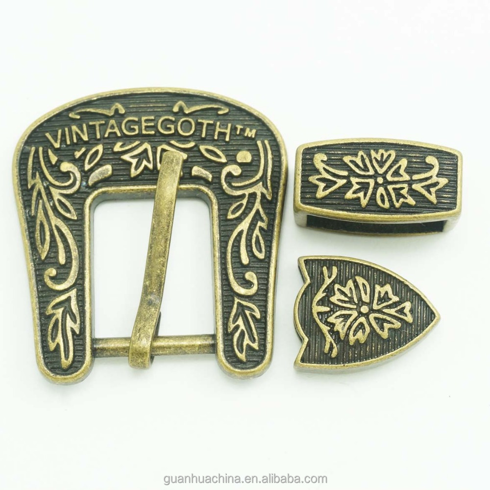 wholesale antique brass color three pieces western belt <strong>buckle</strong> for ladies belt