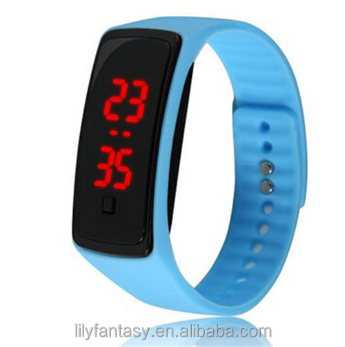 MOQ 100pcs in Your Logo New Womens mens kids Silicone Band Touch Screen Sports LED Watch Bracelet
