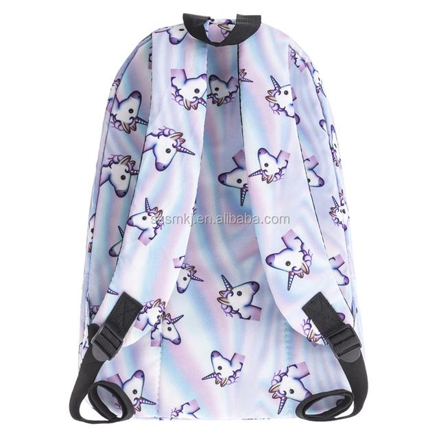 New Fashion Women Unicorn Backpack 3D Printing Travel Backpack School Girls Bag