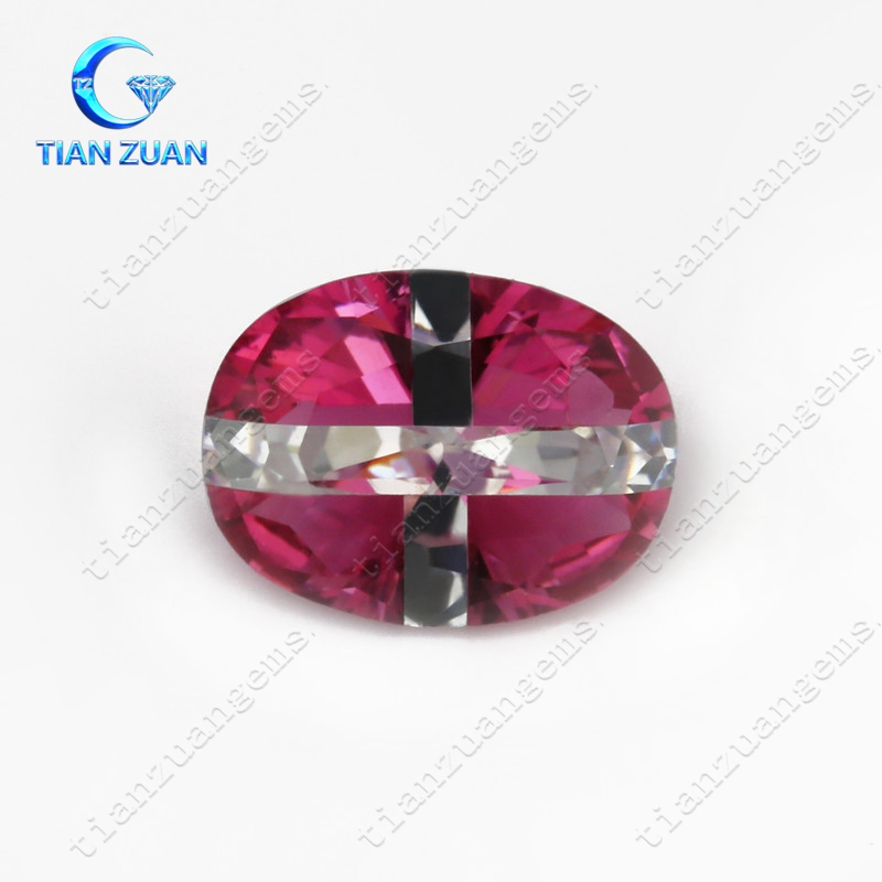 Oval shape multi color stone red cubic zirconia joint with crossroad shape white cubic zirconia zircon stone