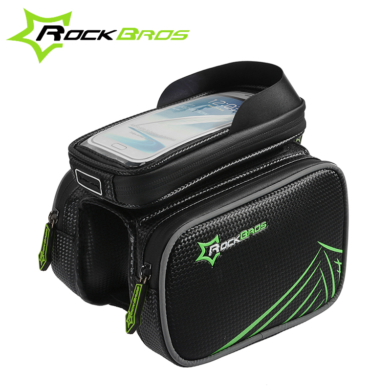 "ROCKBROS Waterproof Bike Bicycle Frame Front Head Top Tube Bag&Double IPouch Cycling Pannier 5.8""/6.2"" Cellphone Smartphone Case"