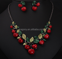 Women Girls Beautiful Red Cherry Necklace Earrings Party Jewelry Set