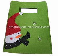 2018 new hot wholesale unique fabric handmade decoration snowman design felt gift Christmas non woven wine bag China supplier