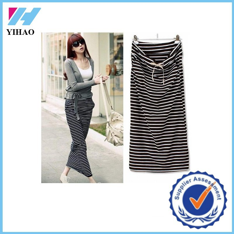 Yihao 2015 Fashion Women Casual Long Striped Pencil Maxi Skirt