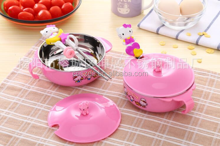 Wholesale Cartoon Children's Dinnerware Chopsticks Spoon Bowl Kit Hello Kitty Kitchen Cooking Tools Metal Tableware