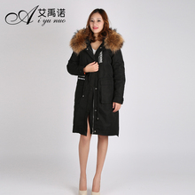 New Design Down Coat Women With Real Genuine Raccoon Fur Hood Ladies Down Parka Coat Long Overcoat Wholesal Winter Clothes